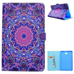 Purple Mandala Flower Folio Flip Stand Leather Wallet Case for Samsung Galaxy Tab A 10.1 T580 T585