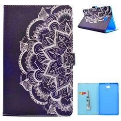 Half Lace Mandala Flower Folio Flip Stand Leather Wallet Case for Samsung Galaxy Tab A 10.1 T580 T585