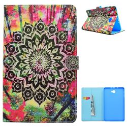 Colorful Mandala Flower Folio Flip Stand Leather Wallet Case for Samsung Galaxy Tab A 10.1 T580 T585