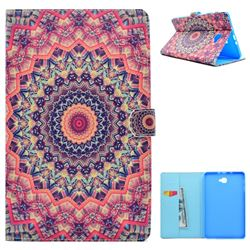 Orange Mandala Flower Folio Flip Stand Leather Wallet Case for Samsung Galaxy Tab A 10.1 T580 T585