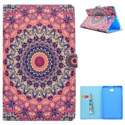 Orange Mandala Flower Folio Flip Stand Leather Wallet Case for Samsung Galaxy Tab A 10.1 T580 T585