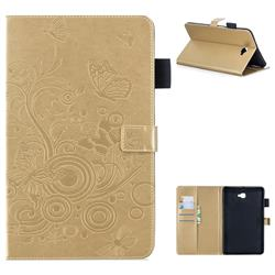 Intricate Embossing Butterfly Circle Leather Wallet Case for Samsung Galaxy Tab A 10.1 T580 T585 - Champagne