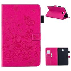 Intricate Embossing Butterfly Circle Leather Wallet Case for Samsung Galaxy Tab A 10.1 T580 T585 - Red