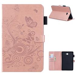 Intricate Embossing Butterfly Circle Leather Wallet Case for Samsung Galaxy Tab A 10.1 T580 T585 - Rose Gold
