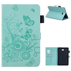Intricate Embossing Butterfly Circle Leather Wallet Case for Samsung Galaxy Tab A 10.1 T580 T585 - Cyan