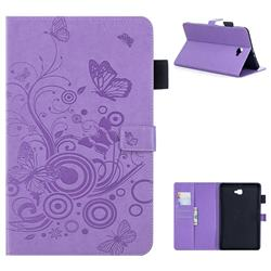 Intricate Embossing Butterfly Circle Leather Wallet Case for Samsung Galaxy Tab A 10.1 T580 T585 - Purple