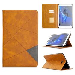 Binfen Color Prismatic Slim Magnetic Sucking Stitching Wallet Flip Cover for Samsung Galaxy Tab A 10.1 T580 T585 - Yellow