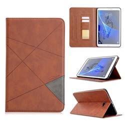 Binfen Color Prismatic Slim Magnetic Sucking Stitching Wallet Flip Cover for Samsung Galaxy Tab A 10.1 T580 T585 - Brown