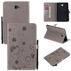 Embossing Bee and Cat Leather Flip Cover for Samsung Galaxy Tab A 10.1 T580 T585 - Gray