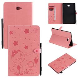 Embossing Bee and Cat Leather Flip Cover for Samsung Galaxy Tab A 10.1 T580 T585 - Pink
