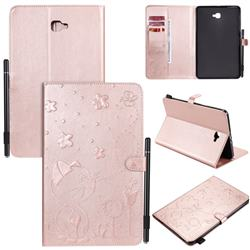 Embossing Bee and Cat Leather Flip Cover for Samsung Galaxy Tab A 10.1 T580 T585 - Rose Gold