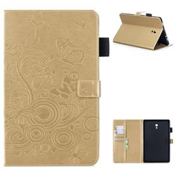 Intricate Embossing Butterfly Circle Leather Wallet Case for Samsung Galaxy Tab A 10.5 T590 T595 - Champagne