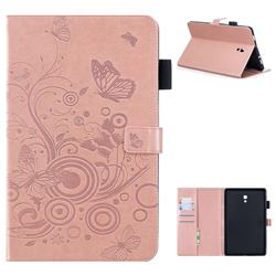 Intricate Embossing Butterfly Circle Leather Wallet Case for Samsung Galaxy Tab A 10.5 T590 T595 - Rose Gold