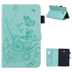 Intricate Embossing Butterfly Circle Leather Wallet Case for Samsung Galaxy Tab A 10.5 T590 T595 - Cyan