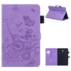 Intricate Embossing Butterfly Circle Leather Wallet Case for Samsung Galaxy Tab A 10.5 T590 T595 - Purple