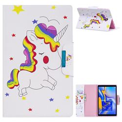 Rainbow Unicorn Folio Flip Stand Leather Wallet Case for Samsung Galaxy Tab A 10.5 T590 T595