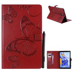 Embossing 3D Butterfly Leather Wallet Case for Samsung Galaxy Tab A 10.5 T590 T595 - Red
