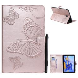 Embossing 3D Butterfly Leather Wallet Case for Samsung Galaxy Tab A 10.5 T590 T595 - Rose Gold