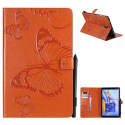 Embossing 3D Butterfly Leather Wallet Case for Samsung Galaxy Tab A 10.5 T590 T595 - Orange