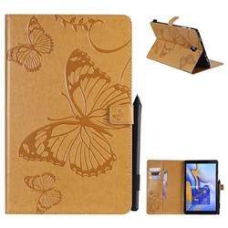 Embossing 3D Butterfly Leather Wallet Case for Samsung Galaxy Tab A 10.5 T590 T595 - Yellow