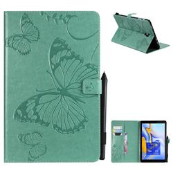 Embossing 3D Butterfly Leather Wallet Case for Samsung Galaxy Tab A 10.5 T590 T595 - Green