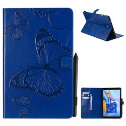 Embossing 3D Butterfly Leather Wallet Case for Samsung Galaxy Tab A 10.5 T590 T595 - Blue