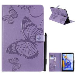 Embossing 3D Butterfly Leather Wallet Case for Samsung Galaxy Tab A 10.5 T590 T595 - Purple