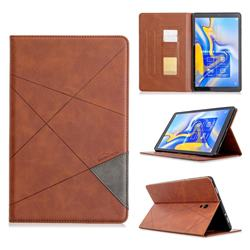 Binfen Color Prismatic Slim Magnetic Sucking Stitching Wallet Flip Cover for Samsung Galaxy Tab A 10.5 T590 T595 - Brown