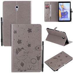 Embossing Bee and Cat Leather Flip Cover for Samsung Galaxy Tab A 10.5 T590 T595 T597 - Gray