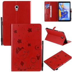 Embossing Bee and Cat Leather Flip Cover for Samsung Galaxy Tab A 10.5 T590 T595 T597 - Red