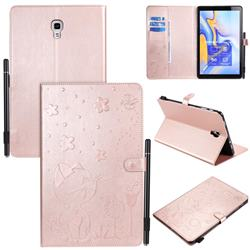 Embossing Bee and Cat Leather Flip Cover for Samsung Galaxy Tab A 10.5 T590 T595 T597 - Rose Gold
