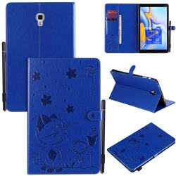 Embossing Bee and Cat Leather Flip Cover for Samsung Galaxy Tab A 10.5 T590 T595 T597 - Blue