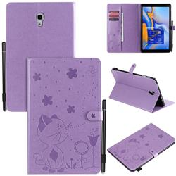 Embossing Bee and Cat Leather Flip Cover for Samsung Galaxy Tab A 10.5 T590 T595 T597 - Purple