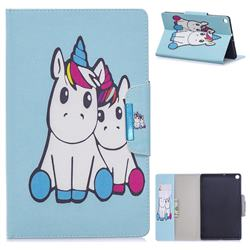 Couple Unicorn Folio Flip Stand Leather Wallet Case for Samsung Galaxy Tab S5e 10.5 T720 T725