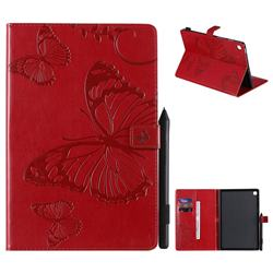 Embossing 3D Butterfly Leather Wallet Case for Samsung Galaxy Tab S5e 10.5 T720 T725 - Red