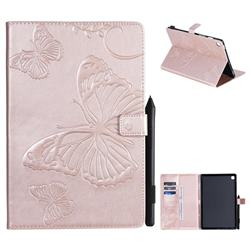 Embossing 3D Butterfly Leather Wallet Case for Samsung Galaxy Tab S5e 10.5 T720 T725 - Rose Gold