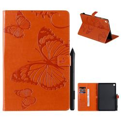 Embossing 3D Butterfly Leather Wallet Case for Samsung Galaxy Tab S5e 10.5 T720 T725 - Orange