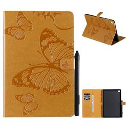 Embossing 3D Butterfly Leather Wallet Case for Samsung Galaxy Tab S5e 10.5 T720 T725 - Yellow