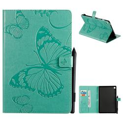 Embossing 3D Butterfly Leather Wallet Case for Samsung Galaxy Tab S5e 10.5 T720 T725 - Green