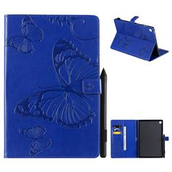 Embossing 3D Butterfly Leather Wallet Case for Samsung Galaxy Tab S5e 10.5 T720 T725 - Blue