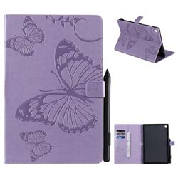 Embossing 3D Butterfly Leather Wallet Case for Samsung Galaxy Tab S5e 10.5 T720 T725 - Purple