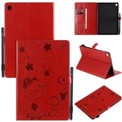 Embossing Bee and Cat Leather Flip Cover for Samsung Galaxy Tab S5e 10.5 T720 T725 - Red