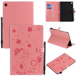 Embossing Bee and Cat Leather Flip Cover for Samsung Galaxy Tab S5e 10.5 T720 T725 - Pink