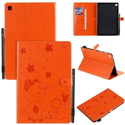 Embossing Bee and Cat Leather Flip Cover for Samsung Galaxy Tab S5e 10.5 T720 T725 - Orange