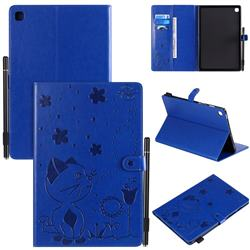 Embossing Bee and Cat Leather Flip Cover for Samsung Galaxy Tab S5e 10.5 T720 T725 - Blue