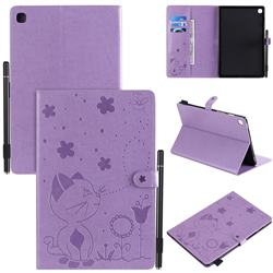 Embossing Bee and Cat Leather Flip Cover for Samsung Galaxy Tab S5e 10.5 T720 T725 - Purple