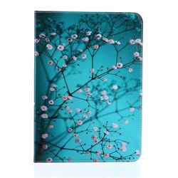 Blue Plum flower Folio Stand Leather Wallet Case for Samsung Galaxy Tab S2 9.7 T810 T815 T819
