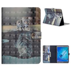 Tiger and Cat 3D Painted Leather Tablet Wallet Case for Samsung Galaxy Tab S2 9.7 T810 T815 T819