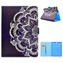 Half Lace Mandala Flower Folio Flip Stand Leather Wallet Case for Samsung Galaxy Tab S3 9.7 T820 T825