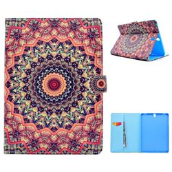 Orange Mandala Flower Folio Flip Stand Leather Wallet Case for Samsung Galaxy Tab S3 9.7 T820 T825
